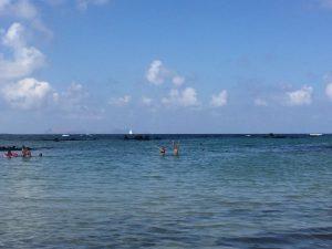 Baden in der Lagune kurz vor Orzola