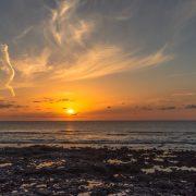 Sonnenuntergang bei leckeren Fisch in el Golfo