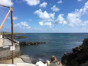 Blick von der Terrasse aufs Meer