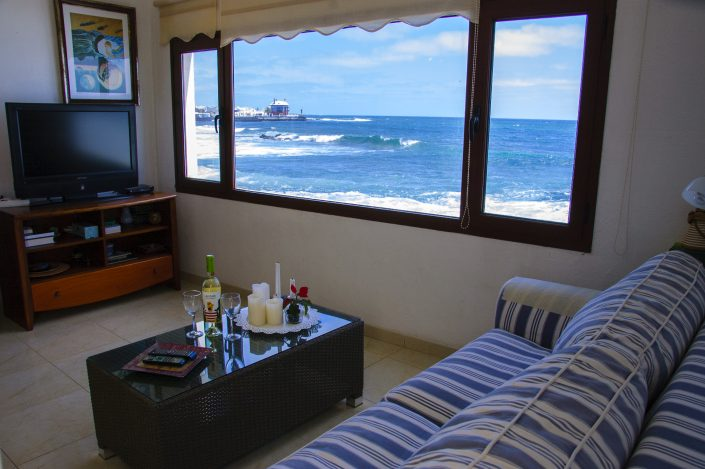 Ausblick aus dem Wohnbereich des Ferienhauses Arrieta